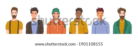 Portraits of male personages, isolated set of men belonging to different cultures, races and nationalities. Fashionable and handsome boys and trendy guys. Cartoon character, vector in flat style Royalty-Free Stock Photo #1901108155