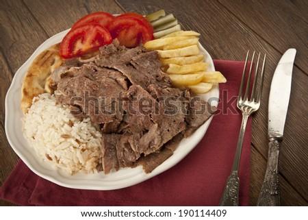 delicious turkish doner kebab grilled meat #190114409