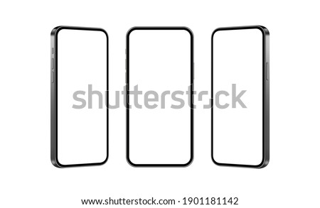 Set of Black Mobile Phones Mockups Isolated on White Background, Front and Side View. Vector Illustration