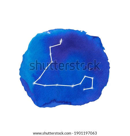 Pisces sign. Watercolor constellation of Pisces zodiac sign. Celestial art. Space watercolor clipart. Blue abstract splashes and stars. Horoscope, astological calendar.
