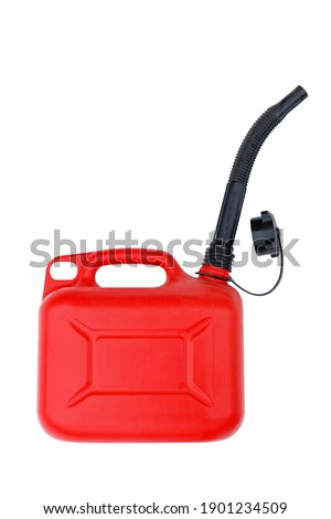 Red plastic canister with black spout for gasoline or other fuel. Isolated on white. Royalty-Free Stock Photo #1901234509