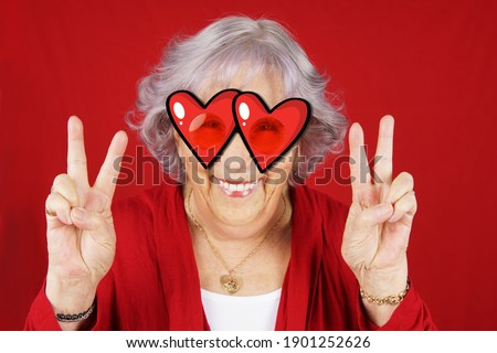 Funny cupid peace and love grandma with cartoon red heart glasses