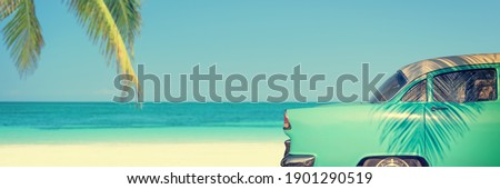 Classic car on a tropical beach with palm tree, panoramic vintage summer background Royalty-Free Stock Photo #1901290519