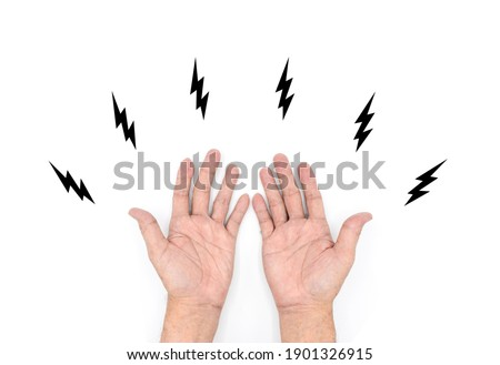 Tingling and numbness in hands of Asian old man with diabetes. Finger sensation problems. Hand nerves problems. Isolated on white.