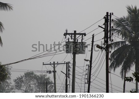 Electric power transmitter on the stick photo capture at Dhaka, Bangladesh. Royalty-Free Stock Photo #1901366230