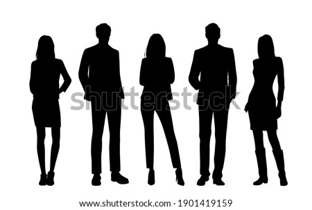 Vector silhouettes of  men and a women, a group of standing  business people, black  color isolated on white background Royalty-Free Stock Photo #1901419159