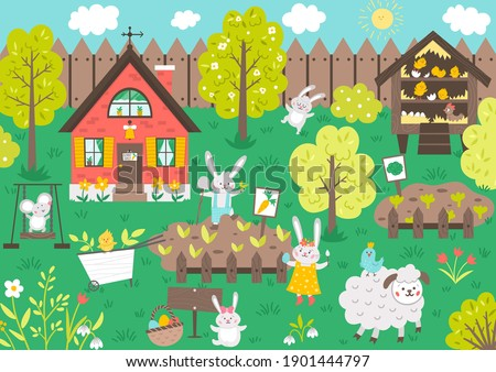 Vector garden scene with cute animals. Spring scenery with funny bunny, cottage, sheep, mouse, chicks gardening. Cute Easter illustration with rabbit family house, fence and flowers.   Royalty-Free Stock Photo #1901444797