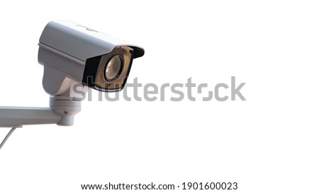 IP CCTV camera install by have water proof cover to protect camera with home security system concept with white background. Royalty-Free Stock Photo #1901600023