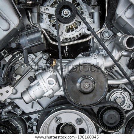 Car Engine - Modern powerful car engine(motor unit - clean and shiny #190160345