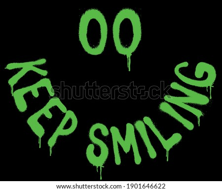 Urban neon graffiti keep smiling slogan print with smile face - Hipster graphic vector pattern for tee - t shirt and sweatshirt Royalty-Free Stock Photo #1901646622
