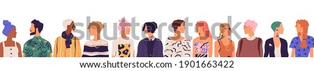 People of younger generation. Crowd of diverse young modern men and women isolated on white background. Friends communicating together standing in a row. Colored flat vector illustration Royalty-Free Stock Photo #1901663422