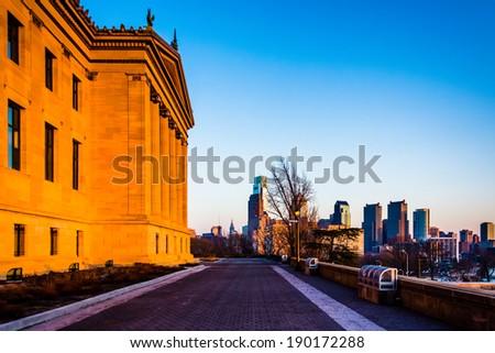 The Art Museum and skyline at sunset, in Philadelphia, Pennsylvania.