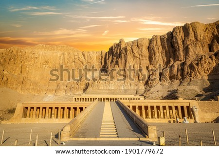 Temple of Queen Hatshepsut, View of the temple in the rock in Egypt Royalty-Free Stock Photo #1901779672