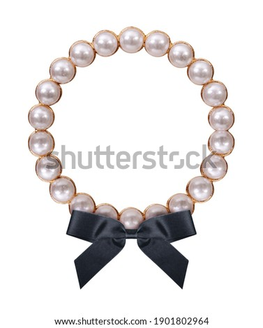 Pearl frame with black mourning ribbon for paintings, mirrors or photo isolated on white background