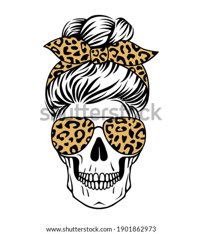 Female skull with aviator glasses bandana and leopard print. Mom skull with messy bun. Vecto illustration. Sugar skull with cheetah pattern.