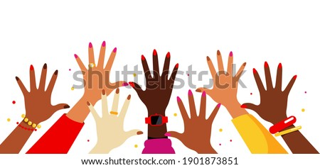 Hands up in the air. Collection of female multi-ethnic hands. Women reach up, vote, wave, greet. Various kind of jewelry: rings, watches, bracelets. Concept of voting, judging Royalty-Free Stock Photo #1901873851