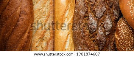 various types of fresh bread, close up bread crust detail texture, background, top view  Royalty-Free Stock Photo #1901874607
