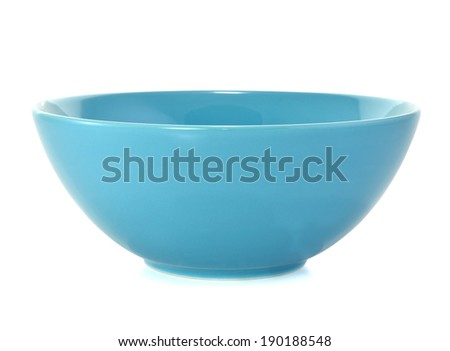 Blue empty bowl isolated on white  #190188548