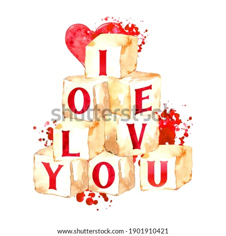 Watercolor valentine illustrations, Cute valentine's cards DIY, Love and heart clipart for posters, greeting cards, planner, stickers