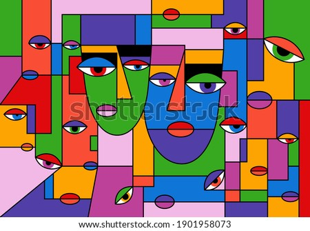 Abstract portrait. Two faces, colorful background cubism art style. Texture with women portraits for print, contemporary fashion design Royalty-Free Stock Photo #1901958073