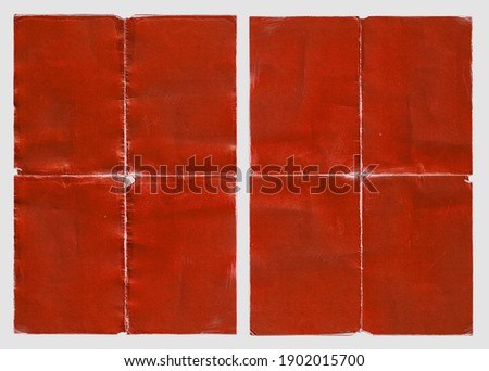 Old Red Empty Ripped Folded Torn Cardboard Paper Poster. Grunge Scratched Old Shabby Surface. Distressed Overlay Texture for Collage.  Royalty-Free Stock Photo #1902015700