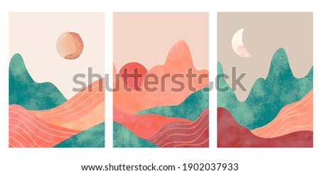 Abstract mountains. Aesthetic minimalist landscape with desert, mountain an sun or moon. Watercolor and paper textured print, vector posters. Illustration mountain landscape, travel art minimal scene Royalty-Free Stock Photo #1902037933