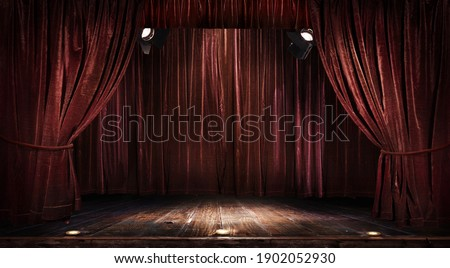 Magic theater stage red curtains Show Spotlight Royalty-Free Stock Photo #1902052930