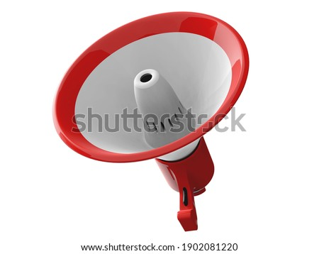 3D RENDER ILLUSTRATION. Megaphone on isolated white background. Clipping path object.