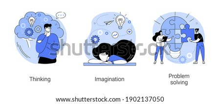 Brain activity abstract concept vector illustration set. Thinking and imagination, problem solving, brainstorming, idea and fantasy, motivation and inspiration, find solution abstract metaphor. Royalty-Free Stock Photo #1902137050
