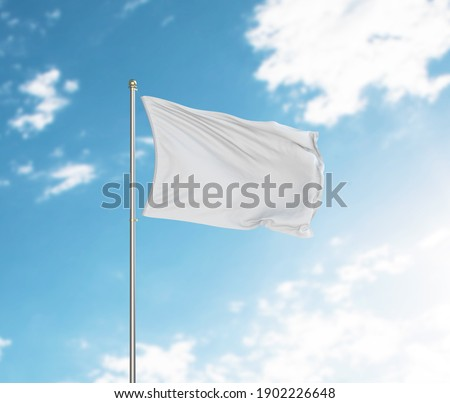3d rendering White flag waving in the wind on flagpole. Sky with clouds background Royalty-Free Stock Photo #1902226648