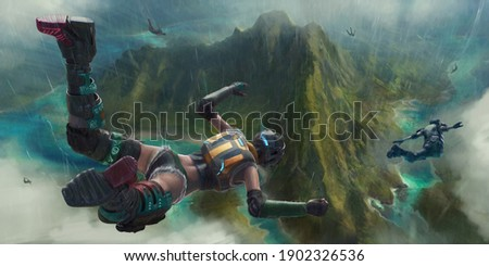 3d illustration of fictional characters falling to the ground.