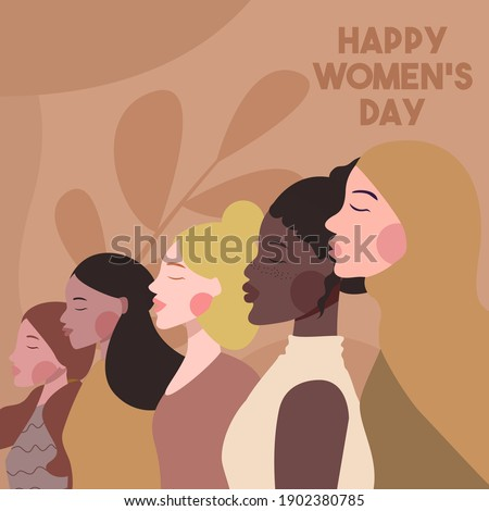 Women's day illustration concept in flat design premium vector Royalty-Free Stock Photo #1902380785