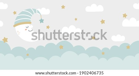 Seamless clouds, stars, and crescent background in pale pastel colors. For nursery room wallpaper, decoration, web banners, headers, etc.