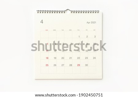 April 2021 calendar page on white background. Calendar background for reminder, business planning, appointment meeting and event. Royalty-Free Stock Photo #1902450751