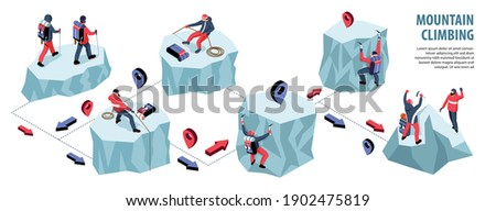 Isometric climbing infographics with flowchart of ice rock cliffs with mountaineer characters location signs and arrows vector illustration
