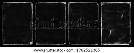 Set of Old Black Empty Aged Damaged Paper Cardboard Photo Card. Rough Grunge Shabby Scratched Torn Ripped Texture. Distressed Overlay Surface for Collage. High Quality. Royalty-Free Stock Photo #1902521305