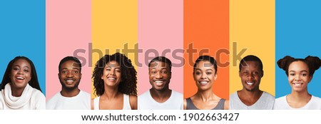Collage Of African American Millennial People Portraits On Bright Colorful Backgrounds. Collection Of Happy And Beautiful Black Female And Male Headshots. Panorama Royalty-Free Stock Photo #1902663427