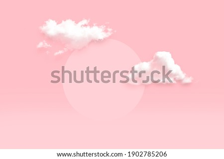 Cloud and circle mock up scene geometry shape podium for product display light soft pink background