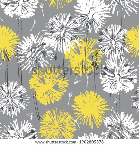 Seamless pattern with hand drawn dandelion flowers for surface design and other design projects. Trendy Illuminating Yellow and Ultimate Gray colors Royalty-Free Stock Photo #1902805378