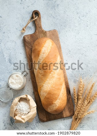 British White Bloomer or European sourdough Baton loaf bread on gray cement background. Fresh loaf bread, glass jar with sourdough starter, flour in paper bag and ears. Top view. Copy space. Vertical Royalty-Free Stock Photo #1902879820
