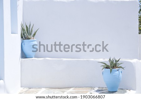 Outside view of traditional little courtyard in Corfu. Similar to Cyclades islands . Royalty-Free Stock Photo #1903066807