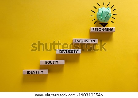 Equity, idenyity, diversity, inclusion, belonging symbol. Wooden blocks with words identity, equity, diversity, inclusion, belonging on beautiful orange background. Inclusion, belonging concept. Royalty-Free Stock Photo #1903105546