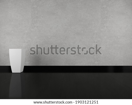 Grey concentrate and with black glossy floor background with planter (3D) Royalty-Free Stock Photo #1903121251