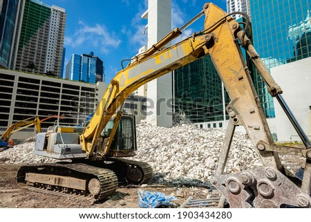 Downtown Miami demolition and construction site in the Brickell district. Royalty-Free Stock Photo #1903434280
