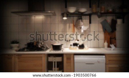 residential space nobody. Blur Modern luxury kitchen black golden tone space Royalty-Free Stock Photo #1903500766