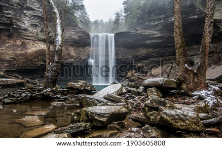 Pictured here is the lower falls of Greeter Falls located on the Cumberland Plateau in Tennessee. A short hike here allows you to view a series of waterfalls in the area.