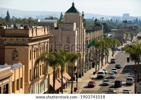Sun shines on the historic downtown district of Santa Ana, California, USA. Royalty-Free Stock Photo #1903741018