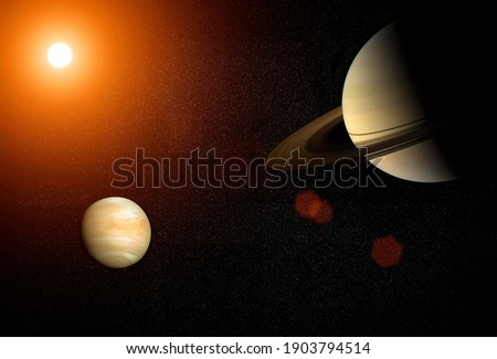 Great Conjunction: Venus and Saturn. Venus and Saturn meet in the space solar system. Elements of this image furnished by NASA.