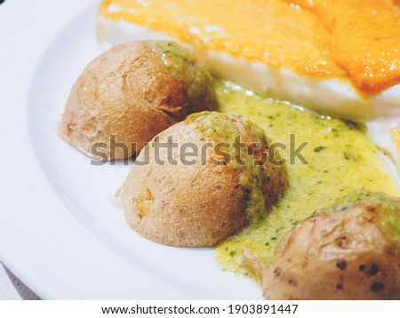 wrinkled potatoes, typical canarian food Royalty-Free Stock Photo #1903891447
