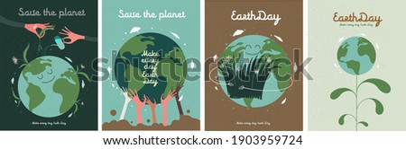 Earth Day. International Mother Earth Day. Environmental problems and environmental protection. Vector illustration. Caring for Nature. Set of vector illustrations Royalty-Free Stock Photo #1903959724
